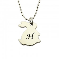 Tiny Rabbit Necklace with Initial