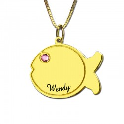 Engraved Kids Name Fish Necklace with Birthstone
