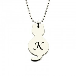 Tiny Cat Necklace with Initial Necklace