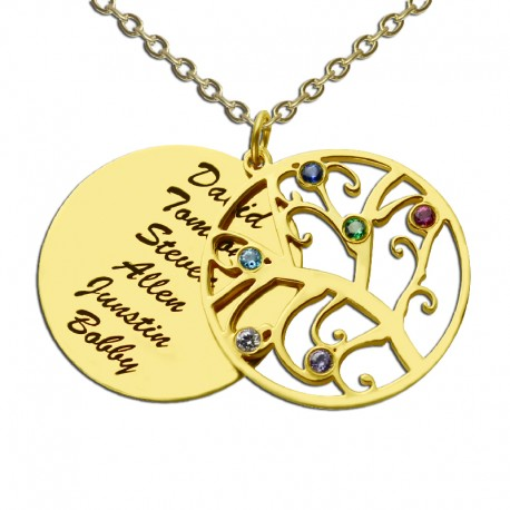 Family Tree with Engraved Names Necklace