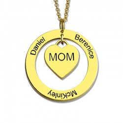 Moms Heart Necklace with Kids Names