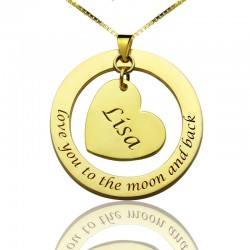 Anniversary Necklace Love You to the Moon with Heart
