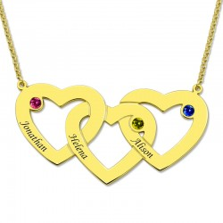 Three Hearts Birthstones Necklace