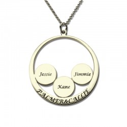 Engraved Couples Pendant with Kids Name Disc