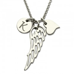 Angel Wing Charm with Engraved Initial Necklace