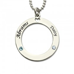 Couples Necklace with Birthstones