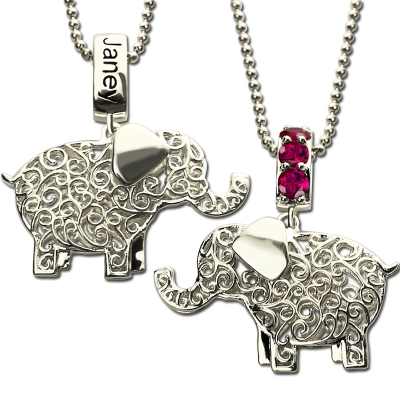 birthstone elephant with engraved name necklace
