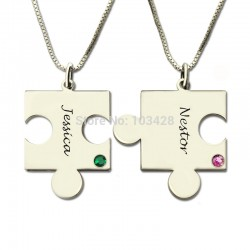 Puzzle Necklace with  Engraved Namesand Birthstones