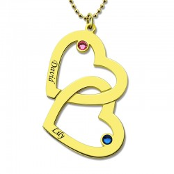 Couple's Heart in Heart Birthstone Necklace