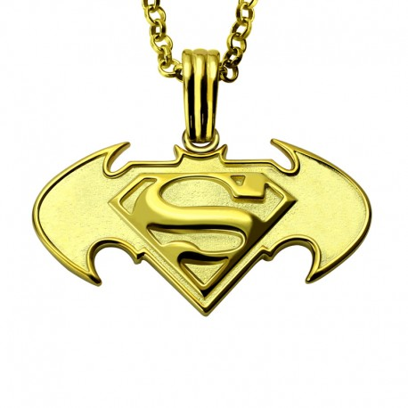 Batman- Superman with Engraved Name Necklace