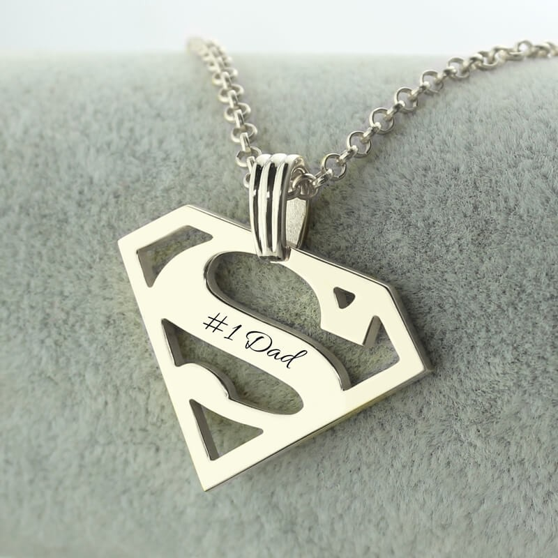 Superman Logo Necklace For Dad Personalizedperfectly