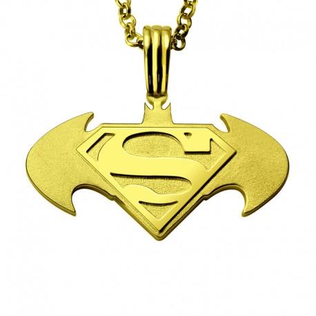 Batman Superman Necklace with Back Inscription