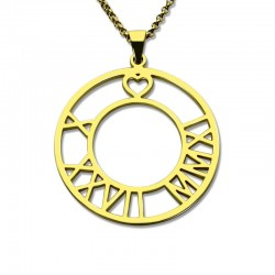 Circle Roman Numeral Necklace with Heart