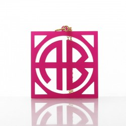 Acrylic Block Square Monogram Necklace