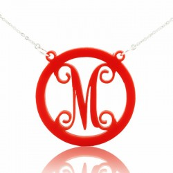 Acrylic Circle Monogram Name Necklace