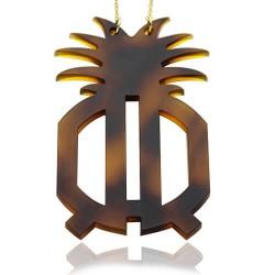 Block Monogram Necklace in Tortoise Shell Acrylic