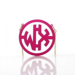 Acrylic Monogram Necklace with Circle Frame Necklace