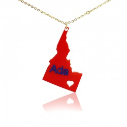 Idaho State With Heart Acrylic Necklace