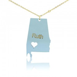 Alabama State With Heart Acrylic Necklace