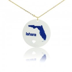 Florida State With Heart Acrylic Necklace