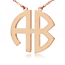 2 Letters Block Monogram Necklace