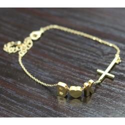 Couple's Initials and Sideway Cross Bracelet