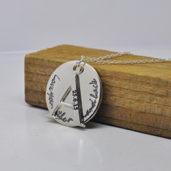 Letter Hand Stamp Disc Love you To The Moon And Back Necklace