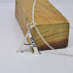 Engraved Date Personalized Initial Pendent