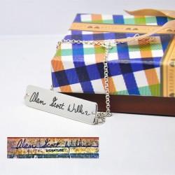 Engraved Handwriting Bar Bracelet