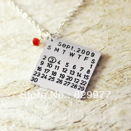 Calendar Shape Alloy Necklace with Birthstone