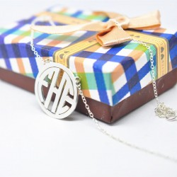 Circle Block Monogram Necklace Personalized