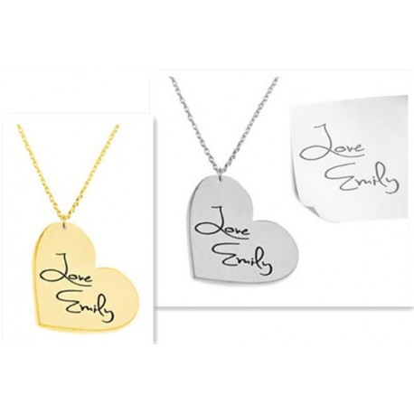 Heart Necklace Personalized Signature