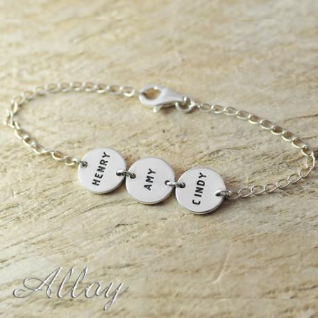 Alloy Circle Disc Name Bracelet