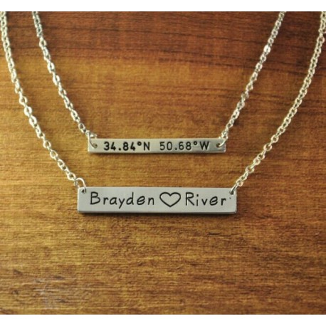 Bar Necklace with Coordinates and Names Pendant